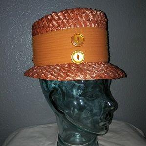 Vintage M. Berené straw cloché hat